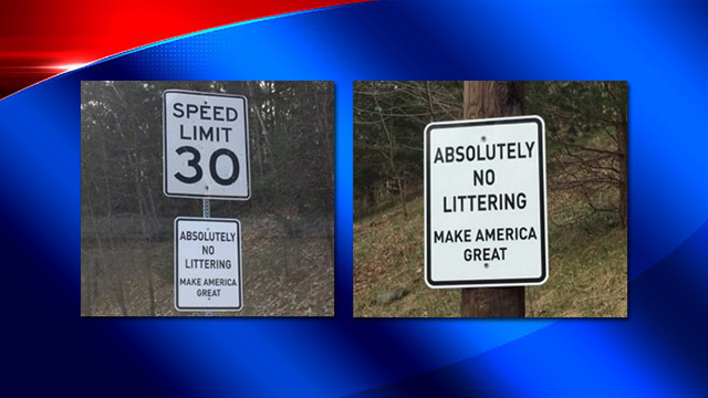 Binghamton to remove 'Make America Great' littering signs